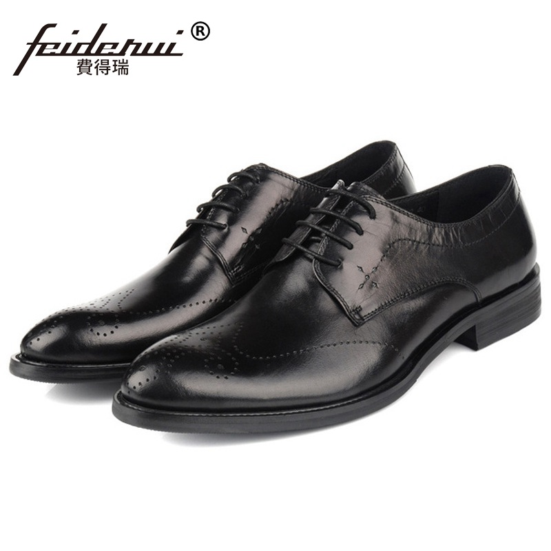British Wing Tip Man Carved Dress Shoes Genuine Leather Breathable Brogue Oxfords Round Toe Formal Men's Wing Tip Flats YD91 ruimosi high quality wing tip man dress
