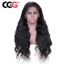 CGG 130% Density lace Wig For Black Women Mongolian Body Wave Human Hair Wigs Natural Color 13*4 Lace Wig With Baby Hair Remy