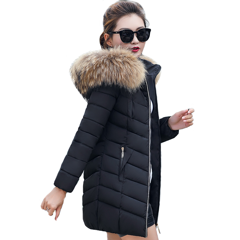 Womens Winter Jackets Coats 2018 Solid Color Fashion Winter   Parka   Women Long Hooded Thick Warm Cotton Padded Coat High Quality