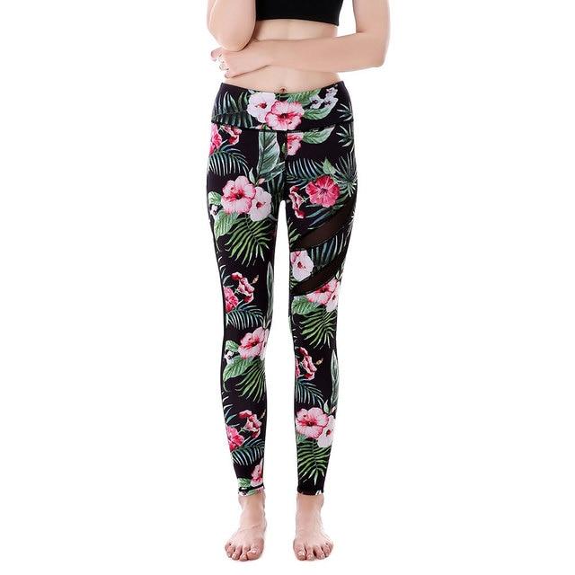 e19ee57b32a81 YIWU Factory WHOLESALE Black Mesh panel Green Tropical Hibiscus flower Yoga  Pants High rise sports jogging Gym athletic leggings