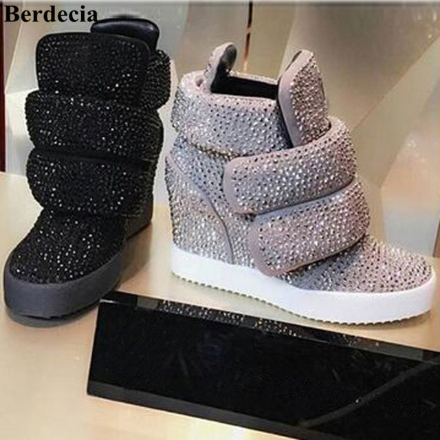 Zapatillas Deportivas Mujer Luxury Brand Rhinestone Women Casual Shoes Height Increasing High Platform Ladies Hidden Wedge Shoes