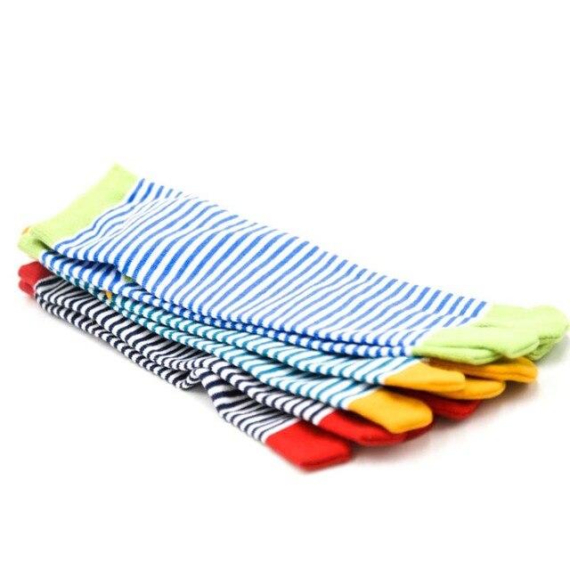 1 Pair Women's Striped Cotton Toe Socks 2