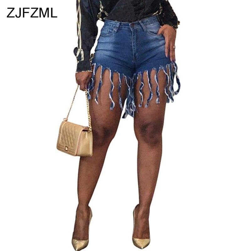 Tassels Patchwork Casual Denim   Shorts   Women Fashion Blue High Waist Beach Wear Jeans Streetwear Female Club Party Bodycon   Short