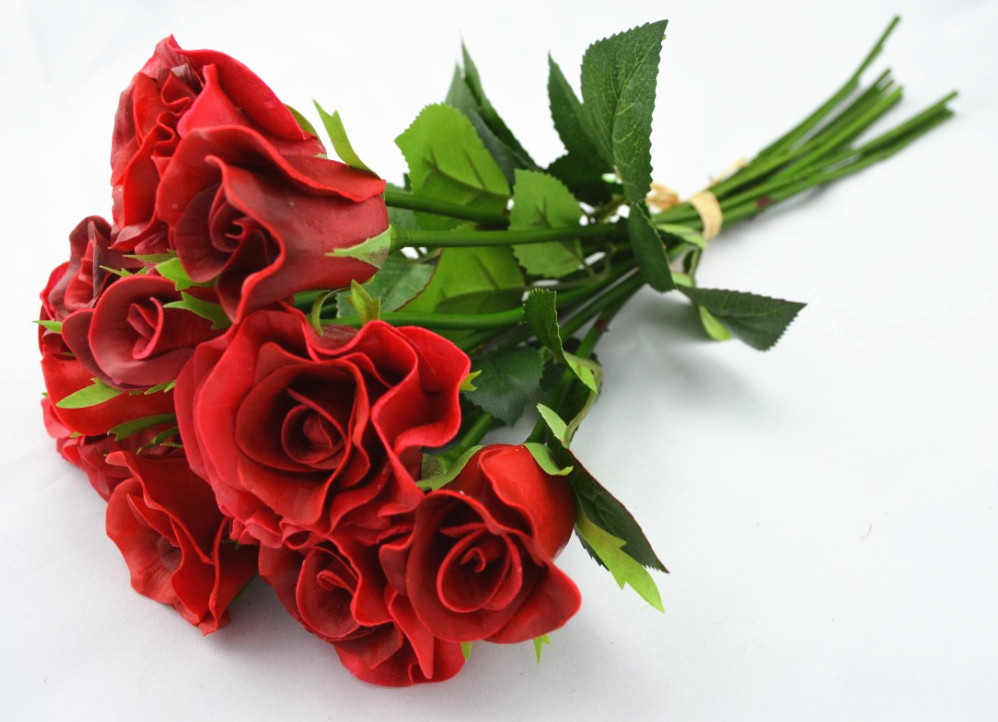NEW!! Real Touch/Natural Touch PU Flowers Roses Wedding Bouquets ...