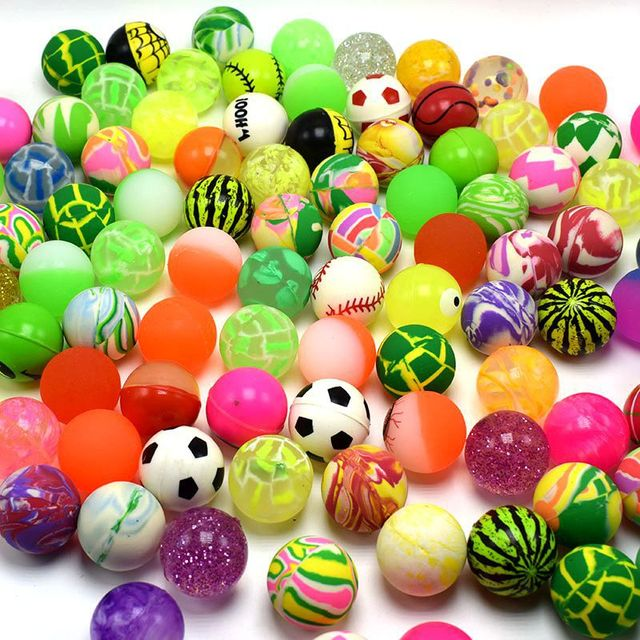 5pcs 10pcs Different Mixed Bouncy Ball Solid Floating Bouncing Kids Elastic Rubber Ball Pinball Football Funny Toys For Children
