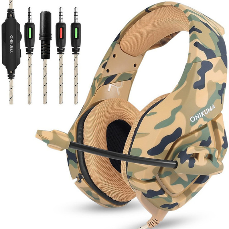 ONIKUMA K1 Camouflage Gaming Headphone Best Casque Gamer Headset 3.5mm with Mic for PS4 PC Xbox One Mobile Phone Tablet Computer camouflage gaming headset ps4 pc computer xbox one gamer headset game headphone with microphone for computer moblie phone laptop