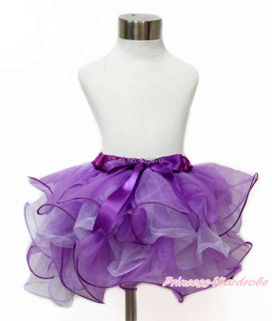 Dark Purple Lavender Baby Girl Petal Pettiskirt Dance Tutu with Purple Bow NB-8Y B262 N222