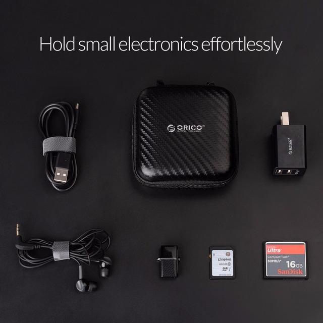 Headphone Case Bag Portable Earphone Earbuds Hard Box Storage for Memory Card USB Cable Organizer Mini Earphone Bag-Black