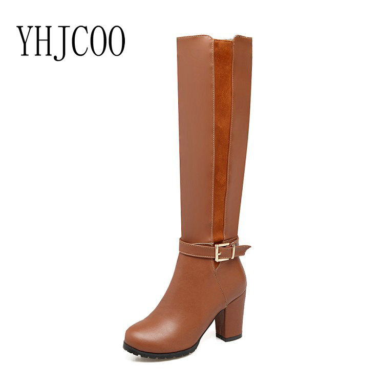 17 New Women Boots High quality PU Square heel High Heels Warm Short Plush Winter Boots Knee-High Zipper Lady Shoes Black Brown enmayer over the knee boots shoes new pu knitting square heel high boots warm snow long boots red brown black knight boots