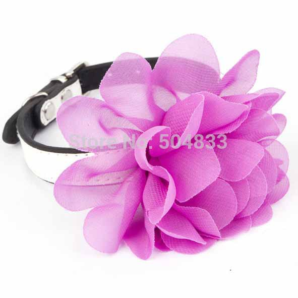 Big Lace Bow Dog Collar Pu Puppy Cat Collars With Flower 6colors
