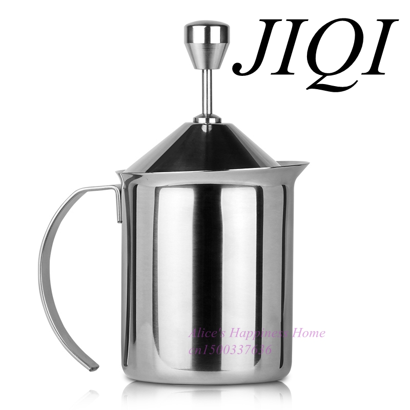 JIQI Thickened double milk frother manually play the milk coffee cup milk pot milk bubble machine ijarl yijia ceramic jug korean milk pot cup cup japanese milk coffee pots are wave