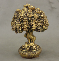 Chinese FengShui Brass Auspicious Wealth YuanBao Treasure Bowl Money Tree Statue