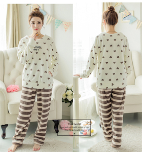 Image 4 - Herfst Winter Vrouwen Pyjama Sets Coral Fleece Nachtkleding Warme Badjas Nightgowns Kimono Pyjamas Thuis Kleding Coral Fleece