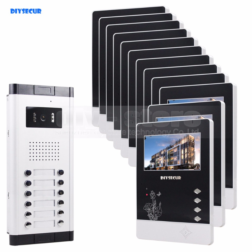 DIYSECUR 12 x 4.3inch Monitors 4-Wired Apartment Video Door Phone Audio Visual Intercom Entry System IR Camera For 12 Families diysecur 7 4 wired apartment video door phone audio visual intercom entry system ir camera for 6 families