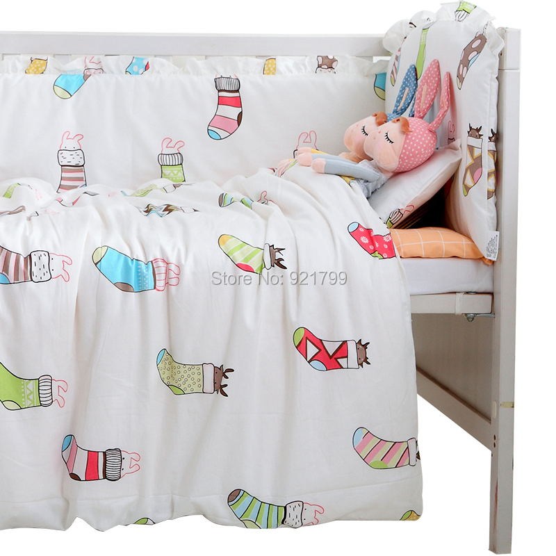 3Pcs Cotton Baby Bedding Sets Crib Nursery Bedding Set Baby Cot Including Duvet Cover Pillowcase Bed Sheet( without Filling) creative cup of giraffe pattern square shape flax pillowcase without pillow inner