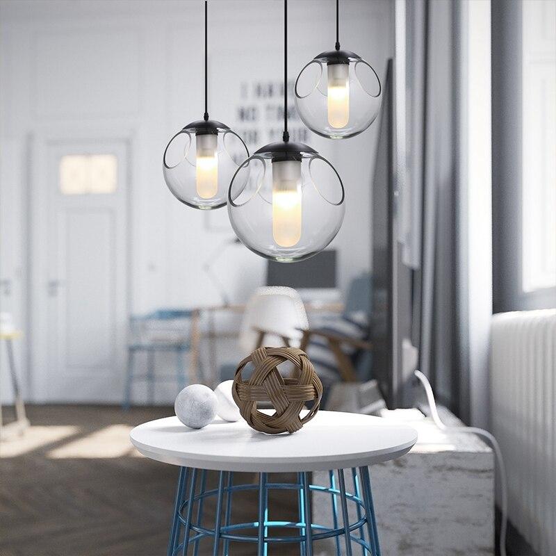 Nordic criativo crianças quarto linha de bola de vidro moderno restaurante bar lustre bolha personalidade única cabeça da lâmpada - 4