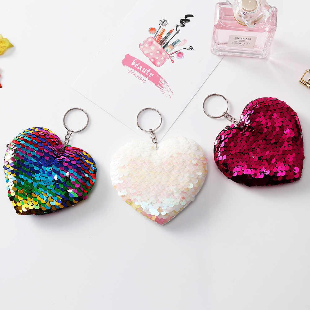 Милый брелок в форме сердца, блестящий помпон, блестки, брелок для ключей, подарки для женщин, Llaveros Mujer, подвески, автомобильная сумка, аксессуары цепочки для ключей