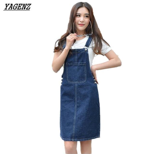 Yagenz 2017 Summer Women Denim Dress Casual Loose Pockets Overalls
