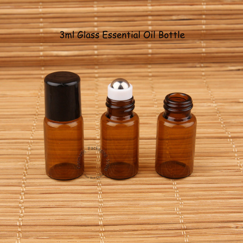 200pcs Lot High Quality 3ml Amber Glass Essential Oil Bottle Small Makeup Pot Mini Roll On