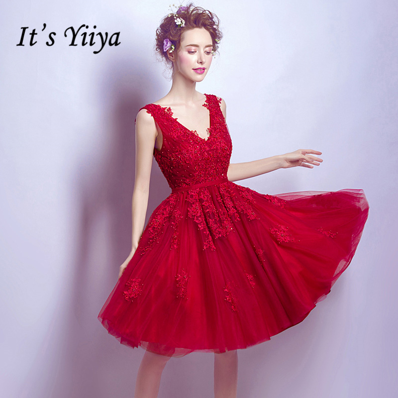 It's YiiYa New Red V-Neck Sleeveless Simple Embroidery Knee Length Dinner   Bridesmaids     Dresses   Party Short Formal   Dress   LX228