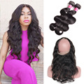 360 Lace Frontal With Bundle Raw Indian Hair Bundles With Closure 360 Lace Frontal With Bundles Top Indian 360 Frontal Body Wave