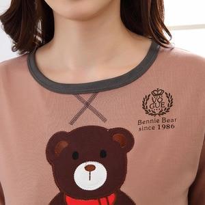 Image 4 - 高品質綿 100% のカップルパジャマセット長袖漫画パジャマセットレディース室内衣類パジャマ女性