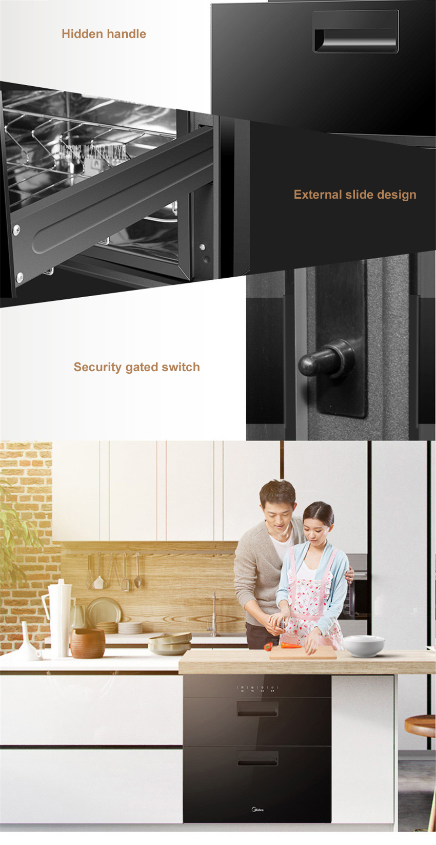 MXV-ZLP90Q15 kitchen 86L electronic touch control embedded disinfection cabinet infrared ultraviolet disinfection cupboard 7
