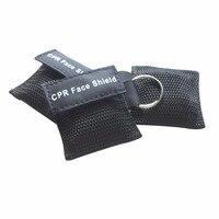 130 Pcs CPR Resuscitator Keychain Mask Key Ring Emergency Rescue Face Shield Black