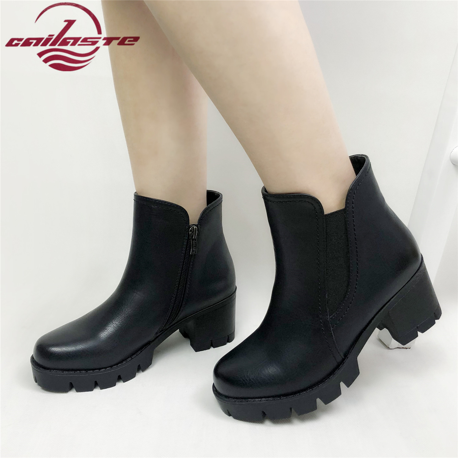 CAILASTE Platform thick high heel leather women shoes Autumn spring round toe Zipper ankle boots for ladies high quality basicCAILASTE Platform thick high heel leather women shoes Autumn spring round toe Zipper ankle boots for ladies high quality basic