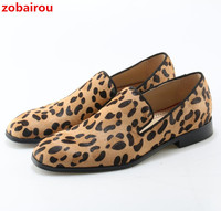 Zobairou Unique Design Leopard Suede Dress Shoes Prom Slip On Men Shoes Flats Loafers Horsehair Luxury