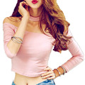 Long Sleeve Crop Top Choker Slash Neck Black Pink Tshirt Women Off The Shoulder Tops For Women Tee Shirt big size S- 4XL 5XL 6XL