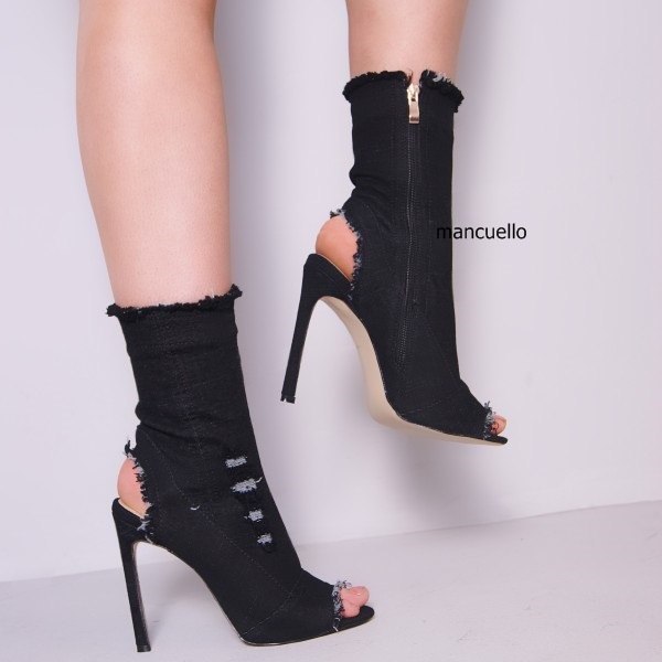 Chic Black Denim Peep Toe Ankle Boots Stylish Women Stiletto High Heels Sandals Fashion Unedged Jeans Sandal Booties New Arrival chic women s bleach wash palazzo jeans