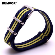 Wholesale Watch 20 mm Multi Color Navy Yellow Army Sports nato fabric Nylon watchband Strap Accessories Bands Buckle belt 20mm
