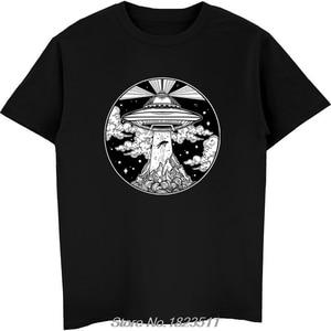 Hot Sale Fashion Alien Space Tattoo TShirt - UFO 51 Area Roswell Believe Tee Men Short Sleeve Tshirt Harajuku Streetwear(China)