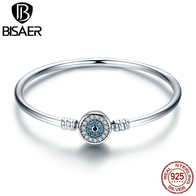 BISAER Real 925 Sterling Silver Blue Lucky Evil Eyes Blue Eye Femme  Bracelets   Bangles for Women DIY Accessories Jewelry ECB012 863be9fe9