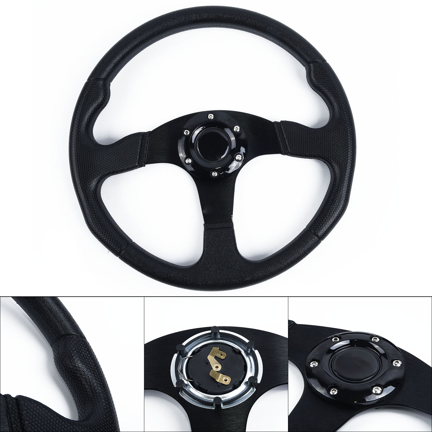 350MM DEEP DISH LEATHER RED 6 Bolt Racing Drifting Off Road Sport Steering Wheel