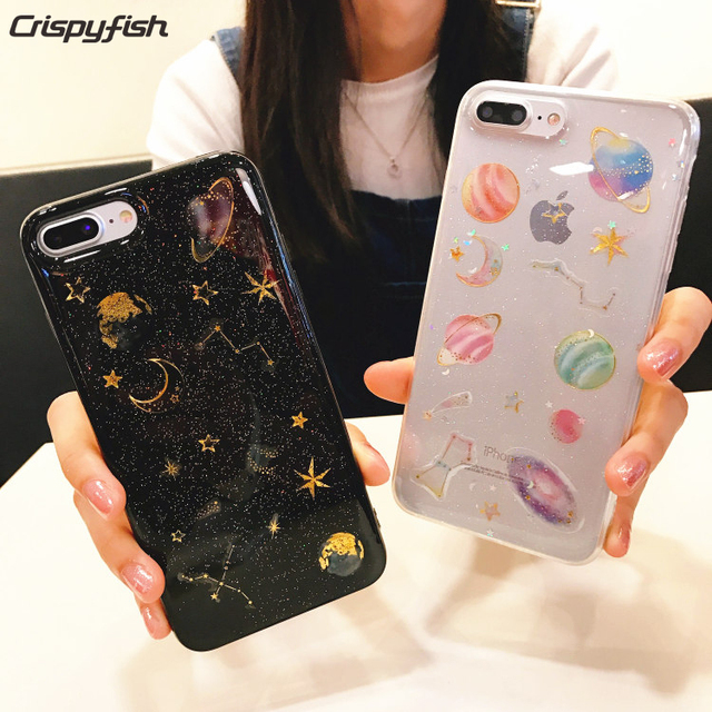 the best attitude 86772 aee08 US $2.66 25% OFF|Crispyfish Glitter Sparkly Planets Transparent Soft TPU  For iPhone 6 6s Plus Cartoon Silicone Case Cover For iPhone 7 7 Plus -in ...