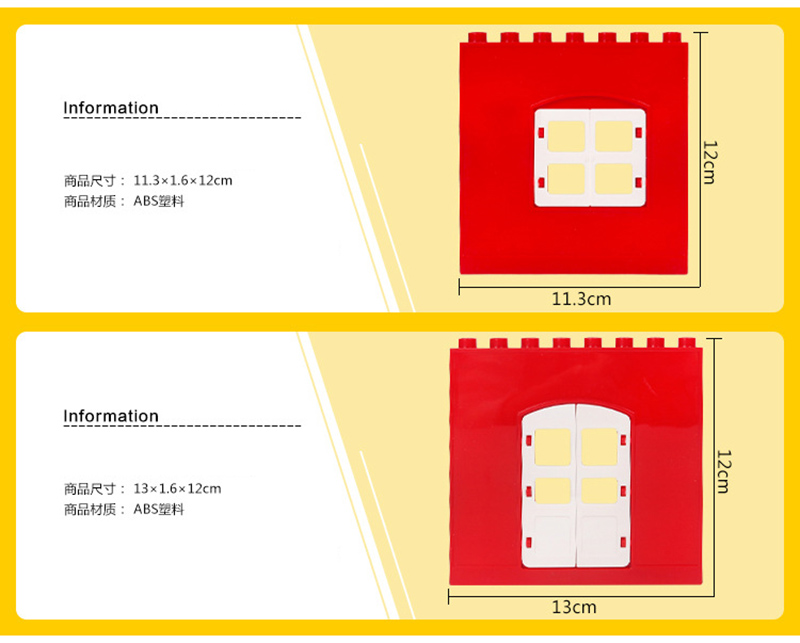 DIY House Big Particles Building Blocks Compatible LegoINGS Duploe Basics Accessory Movable Window Door Set Bricks Kids Toys (11)