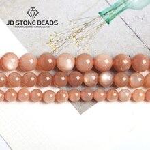 Натуральный оранжевый лунный камень Бусины граненый драгоценный камень 4 6 8 10 12 14 мм выбрать размер бусины DIY аксессуары Высокое качество цена