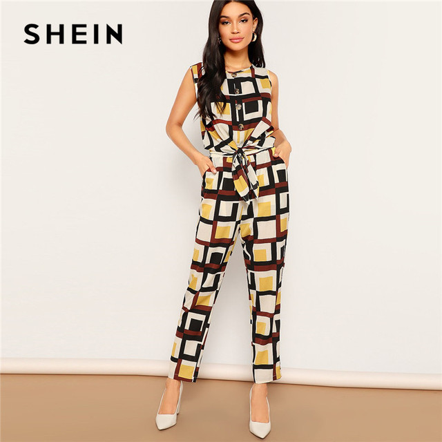 dce82ef8d9 SHEIN Geometric Print Knot Hem Tank Top And Pants Set Round Neck Sleeveless  Co-Ord Women Spring Casual Going Out Two piece