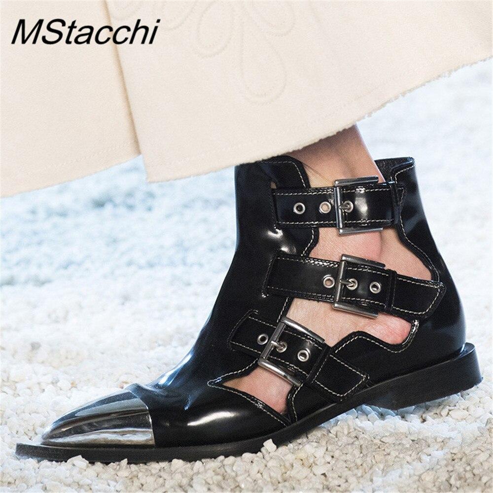 MStacchi Nieuwe Klinknagels Metalen Wees Teen Enkellaars Vrouwen Zwart Gesp Hollow Outs Zomer Laarzen Lederen Laarzen Vrouw-in Enkellaars van Schoenen op  Groep 1