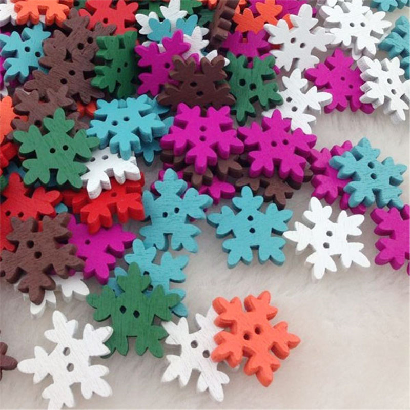 Home & Garden New 10/50/100pc Christmas Holiday Wooden Collection Snowflakes Buttons Snowflakes Embellishments 18mm Creative Wb196 Diversified In Packaging