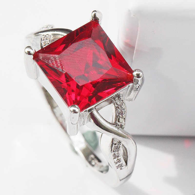 יוקרה אירופאי אופנה אישה ילדה מסיבת חתונה מתנת כסף כיכר אדום AAA זירקון 925 טבעת כסף