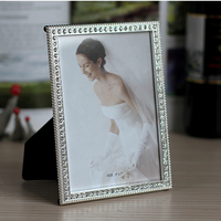 Elegant Rectangle Shaped Silver Plating with Clear Rhinestones Jeweled 5x7 inches Metal Table Photo Frame