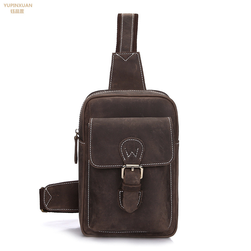 YUPINXUAN Vintage Chest Bag for Men Crazy Horse Leather Chest Packs Retro Bolsa Pecho Hombre Cow Leather Chest Pack Real Leather yupinxuan vintage cow leather messenger bag for men luxury crocodile grain chest bags cowhide crossbody bag chest packs russian