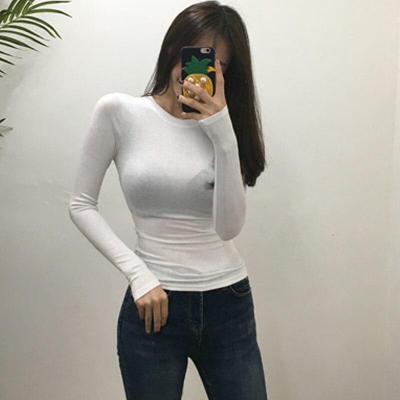 Camiseta ajustada de estilo coreano para mujer, camisetas sexys de algodón de manga larga, camisetas de verano, camiseta para mujer caqui, azul, blanco y negro 2020