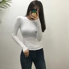 Summer Tops Tee-Shirt Long-Sleeve Slim Blue Black Korean-Style Khaki White Femme Cotton