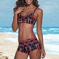 2017 Women Push-up Padded Shorts Bandage Bikini Set Swimsuit Triangle Swimwear Mid Waist Biquinis Beach Bathing Suit ISP