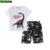 Sistema de la ropa del verano muchachos de los niños del ejército de fashoin ropa de los cabritos fijaron kids boy impresión de algodón dinosaurio camiseta y pantalón de camuflaje traje