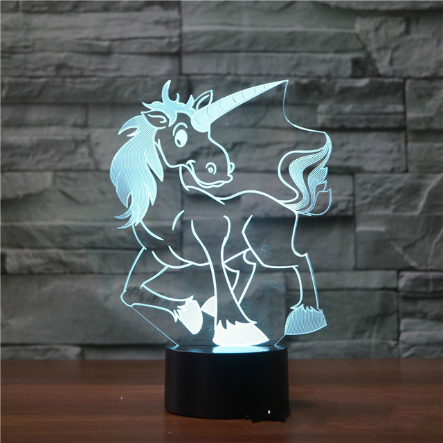 Lovely Unicor3 D Night Light Remote Touch Swithc LED Horse Lamp 7 Colors USB 3D Illusion Animal Lamp Baby Sleeping Table Light